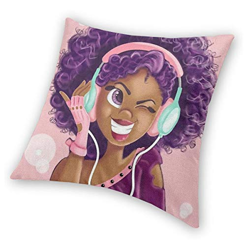 SARA NELL Black Art Throw Pillow Cases,Black Girl African American Girl Love Music Purple Hair,Pillow Covers Decorative 18x18 inch Pillowcase Cushion Covers Zipper