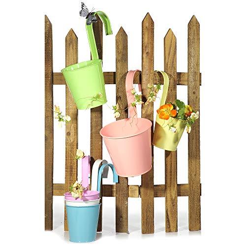 Annastore 6 x Blumentöpfe zum Hängen für Balkon und Gartenzaun Ø 11 cm - Balkon Übertopf zum Hängen - Balkonübertopf zum Hängen (6 x Pastellfarben)