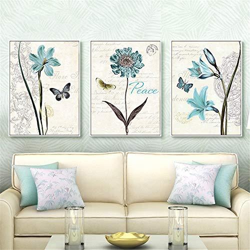 Leinwandmalerei Vogelblume Wandkunst schöne Moderne Druck Nachtdekoration,Rahmenlose Malerei,60X90cmx3