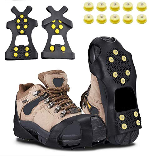 Carryown Ice Grips Traction Cleats Anti Slip Ice Cleats for Shoes and Boots Ice Spikes Crampons + 10 Extra Replacement Studs (S, M, L, XL)