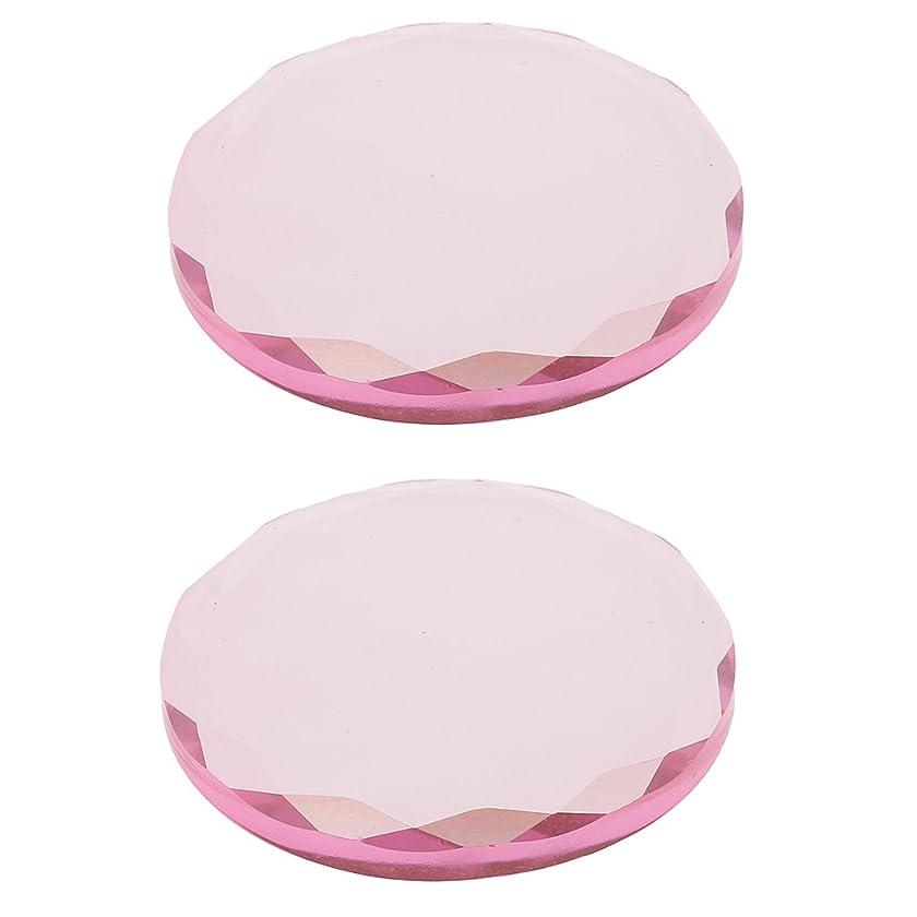 離す不健全オーバーランKesoto まつげ 接着パレット ガラス 接着剤 ホルダー エクステンション用 2ピース 再利用可能 クリスタル 全2色選べ - 4.5cm, ピンク