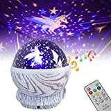 EXTSUD Musik Sternenhimmel Projektor Lampe Drehende Musik Nahtlicht Lampe Romantische Sternenlichter mit Fernbedienung, 8 beruhigende Musik und 8 Farbige Licht Geschenk für Baby Kinder Schlafzimmer