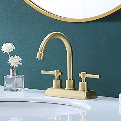 VESLA HOME Modern 2 Handles 2 Holes 4 Inch Centerset Gold Bathroom Faucet,Lavatory Bathroom Sink Faucet With Swivel Spout Water Supply Lines Swivel Spout