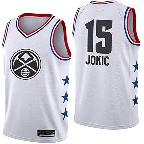XIAOHAI NBA Men's Basketball Jersey Denver Nuggets # 15 Nikola Jokic Transpirable Resistente al Desgaste Bordeado Baloncesto Swingman Jerseys Camiseta Deportiva Jerseys,Blanco,XL