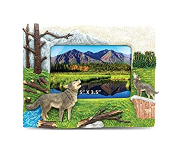 CoTa Global Wolf 5  x 3.5  Photo Frame Handcrafted Resin Picture Holder w/ Easel Back Wild Animal in Forest Novelty Jungle Theme Frame Bright & Unique Polyresin Wall & Desk Wild Life Decorative Frame