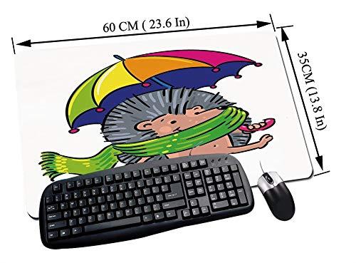 Alfombrilla Raton Gaming,Erizo, Animal sonriente con espigas y bufanda Paraguas de colores del arco iris Caminand,Impermeable con base de goma antideslizante, PC y laptop comfortable mouse pad60x35 cm