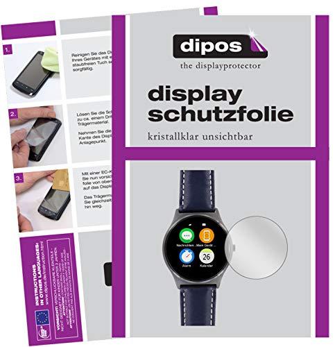 dipos I 2X Schutzfolie klar kompatibel mit Uhr 33.5 mm Durchmesser Folie Displayschutzfolie