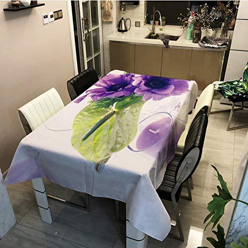 GHGD 140X200Cm-Floral Fruta 3D Mantel De Primavera Poliéster Decorativo para El Hogar Impermeable Rectangular Boda Protección De Ojos Verdes Cubierta De Mesa De Fiesta