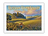 Russian River Valley Wineries - Along Westside Road - North Coast AVA Vineyards - California Wine Country Art by Kerne Erickson - 100% PURE SILK Dupioni Fabric Print 24 x 32in