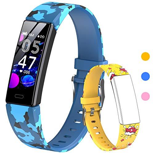 HOFIT Pulsera Actividad para Niños, Reloj Inteligente con Podómetros, Monitor de Frecuencia Cardíaca y Sueño, Cronómetro, Ip68 Resistente Pulsera Deportiva, Smartwatch con 2 Pulseras (Amarillo)