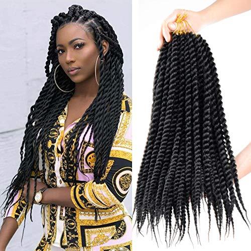 7 Pack Senegalese Twist Crochet Hair 18Inch Havana Mambo Twist Crochet Braids Synthetic Braiding Hair Extensions12 Roots/Pack (18inch, 1B)