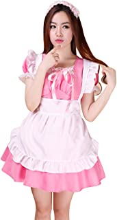Adult Costume- Women's 3-Pieces Anime Cosplay French Maid Apron Fancy Dress Costume (Dress, Apron, Headdress)