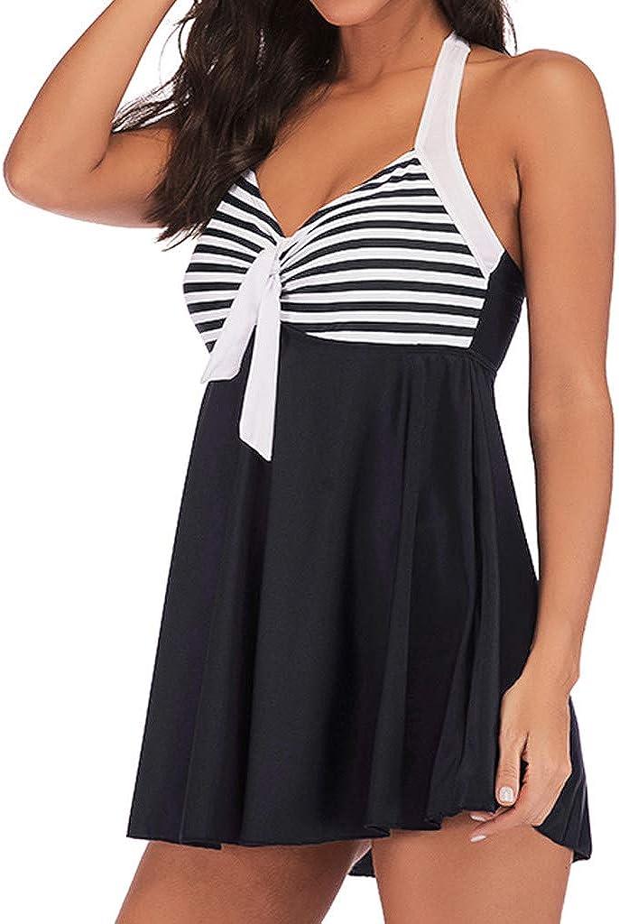 Women Swimsuits,POTO Womens Bikini Sets Plus Size Two Piece Striped Tankini Skirted with Boyshorts Swimwear Bathing Suits