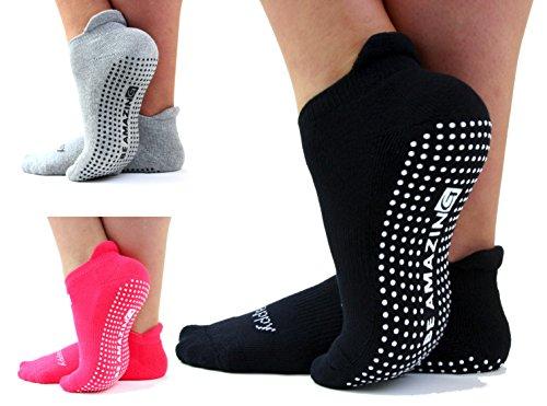 Non-Slip Socks Yoga Barre Pilates Hospital Maternity Sock w/Grips For Women Men 3 Pairs Black Pink Gray
