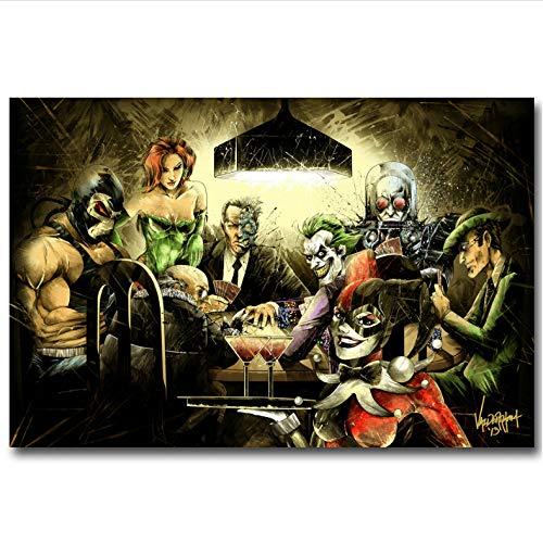 meilishop Imprimir En Lienzo Joker Harley Quinn Jugar Poker Art Seda Poster O Canvas Poster Batman Arkham City Imágenes del Juego A831 (40X60Cm) Sin Marco