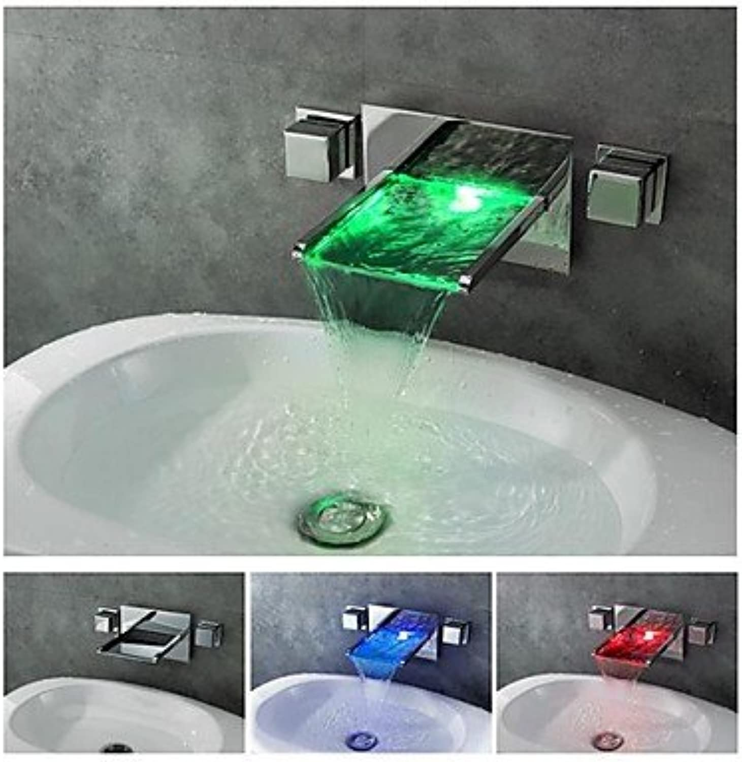 SYX Charmingwater Contemporary Chrome Finish color Changing LED Waterfall Bathroom Sink Faucet (Wall Mount)