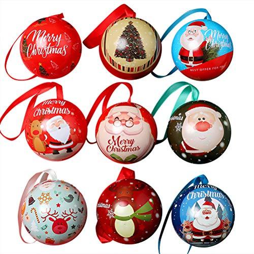 Mnsun 9 pezzi di Natale in lamiera stagnata Candy Box ciondolo albero di Natale rimovibile Candy Box decorazione albero albero di Natale palla di Natale Candy Box