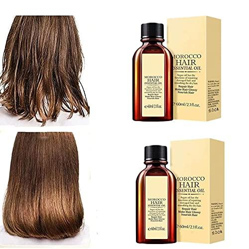 2 piezas de aceite esencial multifuncional para el cabello, aceite de argán para cabello suave y nutritivo para reparación en seco, suero para el cabello anticaída y antifrizz