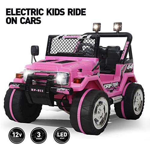 Fitnessclub 12V Kids Ride On Cars with Remote Control,Children's Electric Cars Motorized Cars for Kids LED Lights 3 Speeds Electric Toy for Kids USB Pink