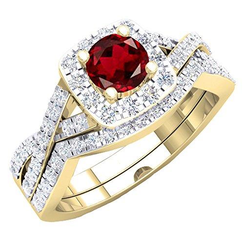 Juego de anillos de compromiso de oro amarillo con topacio azul y diamante blanco de 18 quilates para mujer