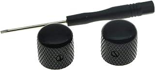 KAISH Set of 2 Quality Black Metal Tele Telecaster Guitar Dome Knobs Bass Knob with Set Screw