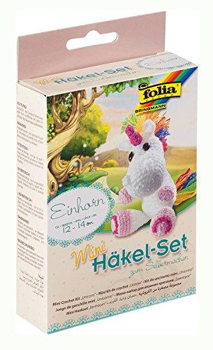 folia 23910 - Mini Häkelset Einhorn, Komplettset zur Erstellung von einem selbst gehäkelten niedlichen Einhorn, ca. 12 - 14 cm groß, für Kinder ab 8 Jahren und Erwachsene, als Geschenk