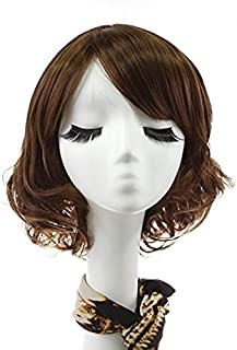 Rabbitgoo Halloween Short Curly Hair Wigs 11 inches with Flat Bangs for Women