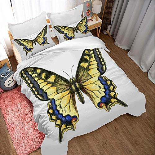 DJDSBJ Duvet cover 135x200cm bedding with Yellow giant butterfly pattern + 2 pillowcases,3-piece polyester quilt cover