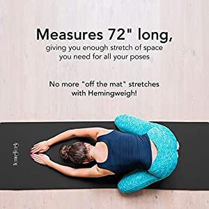 HemingWeigh Extra Thick Foam Exercise Mat | Non-Slip Durable Workout Mat with Self-Strapping System for Transport | Extra Long Cushion for Yoga, Pilates, Meditation, Gym, Stretching | 23 x 70 Inches