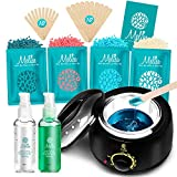 Yeelen Waxing Kit Wax Warmer Wax Beads Hot Wax Hair Removal with 4 packs Hard Wax Beans and 20 Wax Applicator...