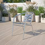 Flash Furniture 4 Pack Heavy Duty Commercial Aluminum Indoor-Outdoor Restaurant Stack Chair with Triple Slat Back