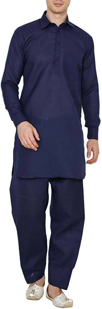 Royal Indian Traditional Festive Men's Linen Navy Blue Pathani Suit