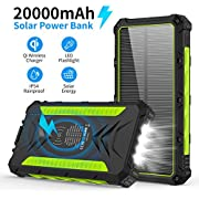 20000mAH Portable Phone Solar Charger, Qi Wireless Solar Power Bank-Rainproof Camping Battery Pack with 3A Fast Charging 4 Outputs LED Flashlight Carabiner Type-C for Mobile Phone iPhone
