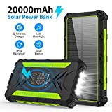 20000mAH Portable Phone Solar Charger, Qi Wireless Solar Power Bank-Rainproof Camping Battery Pack