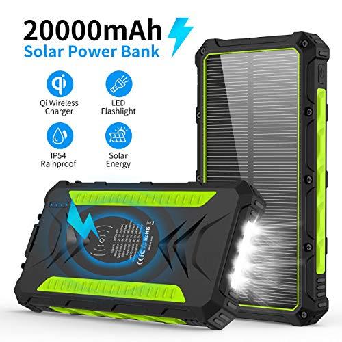 Solar Powerbank,20000mAh Qi Wireless Ladegerät Tragbare Powerbank Externer Akku mit 3 Ausgänge 5V/3A Schnelle Geschwindigkeit&4 LED Taschenlampen Riesige Kapazität Ladegerät für iOS Android