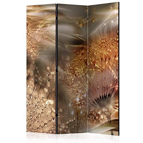 murando Raumteiler Foto Paravent Pusteblume 135x172 cm einseitig auf Vlies-Leinwand Bedruckt Trennwand Spanische Wand Sichtschutz Raumtrenner Gold Beige b-A-0377-z-b