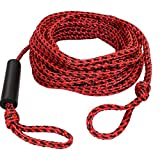 SGT KNOTS Tube Rope - Braided Polypropylene Tube Tow Cord for Water Skiing, Wakeboarding & Towsports (9/16' x 60ft, RedBlack)