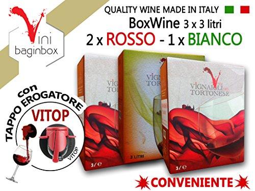 3 X 3 Litri BAG-IN-BOX: 2 x ROSSO & 1 x BIANCO uvaggi Barbera & Cortese Colli Tortonesi Piemonte