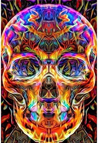 5D-Diamantbild auf Leinwand, 5d Malerei Totenkopf, 5D Diamant Painting Kristalle zum Selbstaufkleben, Malen-nach-Zahlen-Prinzip, Wanddekoration, Motiv: Mexikanischer Totenkopf 35 x 45 cm