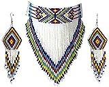 Native Style Seed Beads Beaded Choker Bib Statement Necklace (White)