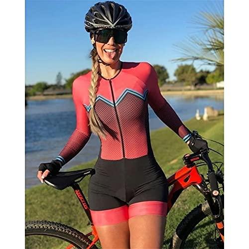 Triatlón de manga larga para mujer, trajes de carreras de bicicletas, medias, mono, ciclismo, ropa de bicicleta, traje de baño (Color : Red 1, Size : X-Small)