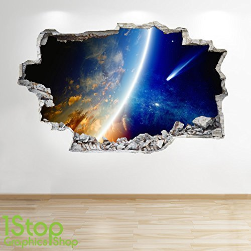 1Stop Graphics Shop SPACE WALL STICKER 3D LOOK - MOON PLANET GALAXY STARS BOYS BEDROOM Z220 Size: Large