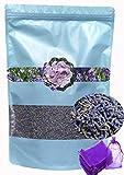 LEIKAIHUA Brotes de flores 100% de lavanda natural 250 g gratis 20 bolsas de lavanda vacías. jabón vela haciendo cajón bolsa guardarropa zapatos viaje insomnio ayuda boda atmósfera