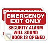 (2 Pack) Emergency Exit Only Sign, Self Adhesive 7 X 10' 4 Mil Sleek Vinyl Decal Stickers Weather Resistant Long Lasting UV Protected and Waterproof Made in USA by Sigo Signs