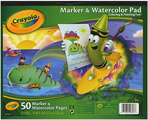 Crayola Marker and Watercolor Pad 10 x 8 Inches, 50 Pages, Pack of 4