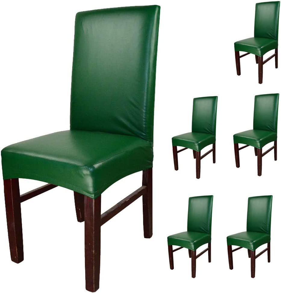 funpie Dining Chair Covers Solid Under blast sales Color Excellence Waterproof Leather and PU