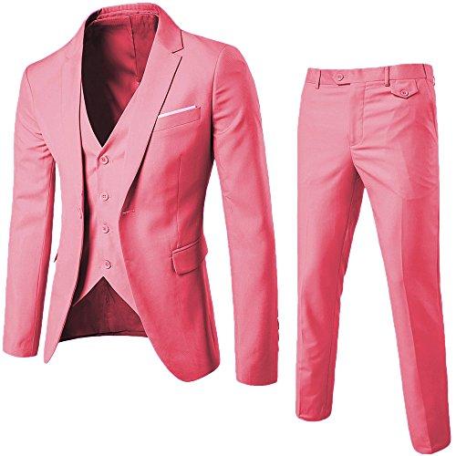 Men's 3 Piece Notch Lapel Formal Men Suit Slim Fit Groomsmen Suit Tuxedos for Wedding (Blazer+Vest+Pant)(White,34)