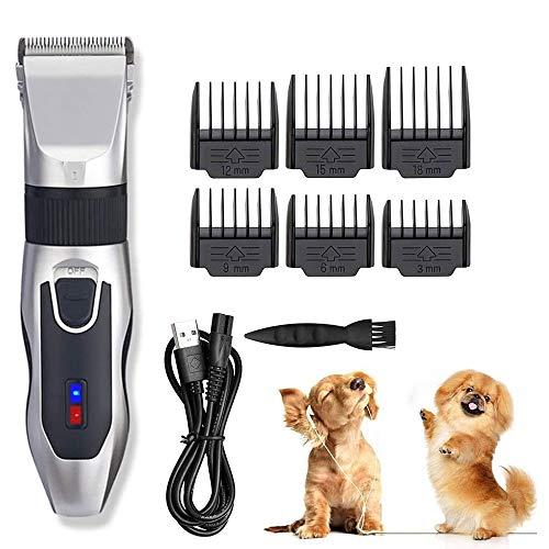 LYYJIAJU Pet Barber pers Pet Electric Clippers,Cordless Dog Grooming Clippers,Rechargeable/Pulg-in Dual Use,Universal Voltage,Best Shaver Set for Dogs Cats Horses Pets