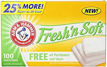 ARM & HAMMER Fabric Softener Sheets, Free of Perfumes and Dyes, 100 ct