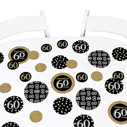 Big Dot of Happiness Adult 60th Birthday - Gold - Birthday Party Giant Circle Confetti - Party Decorations - Large Confetti 27 Count